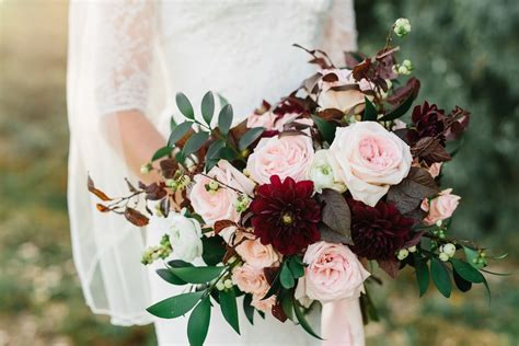 Flower Arrangement Ideas by Burgundy And Blush Wedding Flowers At The Bungalow In