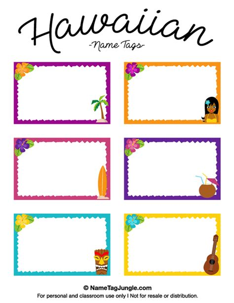 name templates for preschool free printable hawaiian name tags the template can also