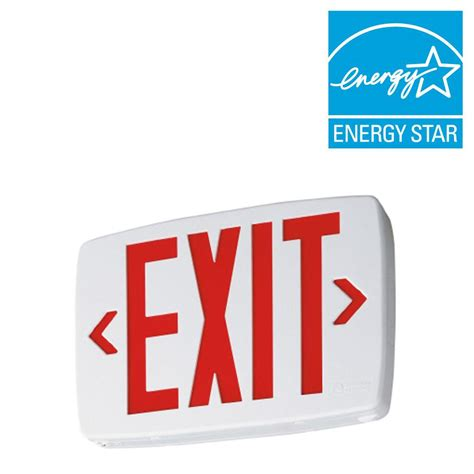 Lithonia Lighting Quantum Thermoplastic LED Emergency Exit Sign with Stencil Faced White Housing