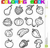 Fruits And Vegetables For Coloring Stock Vector  Image