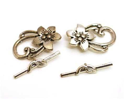 silver jewelry supplies flower toggle clasp antique silver clasp silver toggle