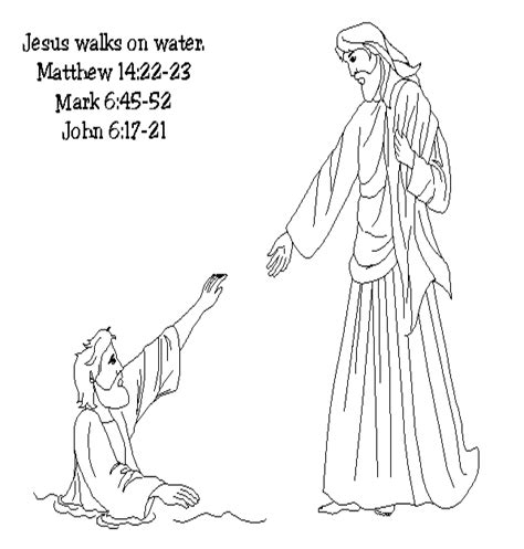 free coloring pages of peter walks on water