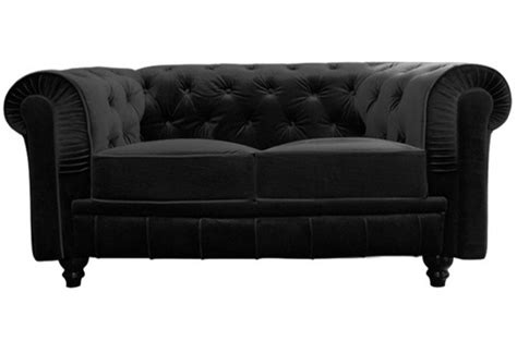 canap 233 chesterfield velours capitonn 233 noir 2 places