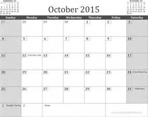 2015 Calendar Template With Holidays by Free October 2015 Calendar Template With Holidays