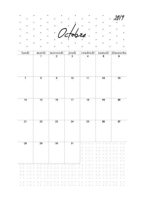 Calendrier octobre 2019 à imprimer - CalendrierCalendag