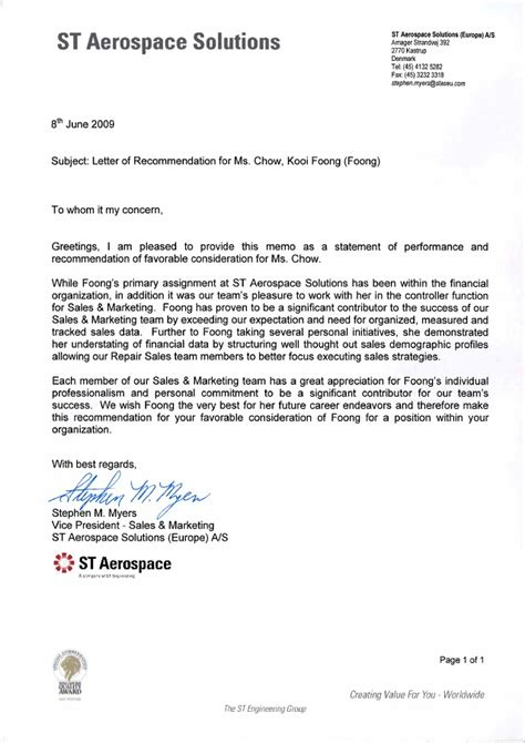 Recommendation Letter Vice President Recommendation Letter From Vice President Sales Marketing Of St Aeros