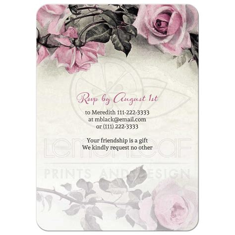 Summer Kitchen Ideas 80th birthday invitation vintage pink grey rose