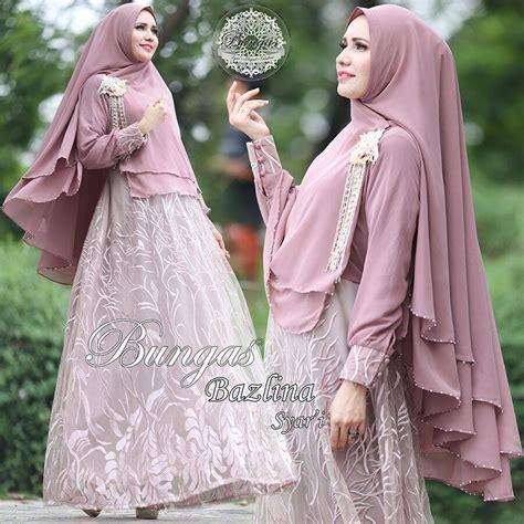 Rok Lilit Modern Motif Daun Ready 2 Warna Plus Ring bazlina purple baju muslim gamis modern