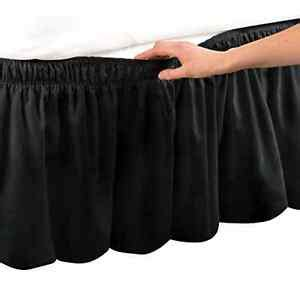 adjustable elastic trimmed ruffle bed wrap ruffle bed skirt king black ebay