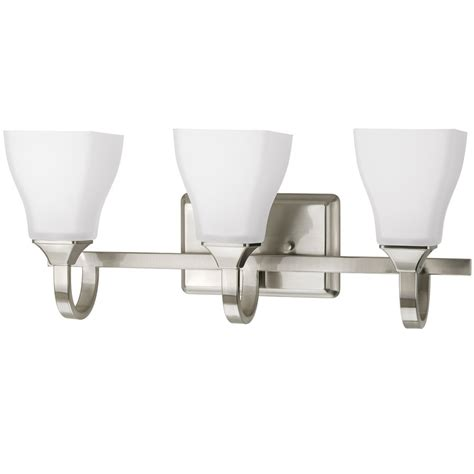 Delta Light Fixtures Bathroom Shop Delta Olmsted 3 Light Brushed Nickel Square Vanity Light At Lowes