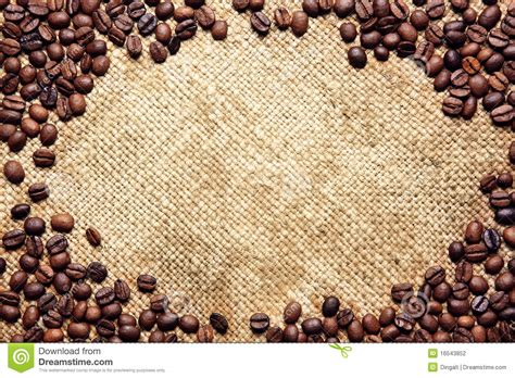 Frame Made Of Coffee Beans On Sack Textile Stock Photography   Image: 16543852