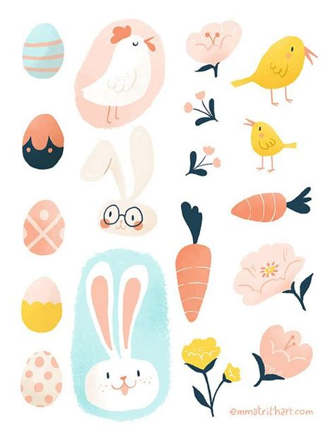 printable easter stickers free printable easter sticker sheet illustration pinterest