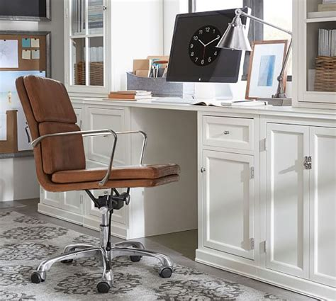 Nash Leather Swivel Desk Chair Pottery Barn Pottery Barn Swivel Desk Chair