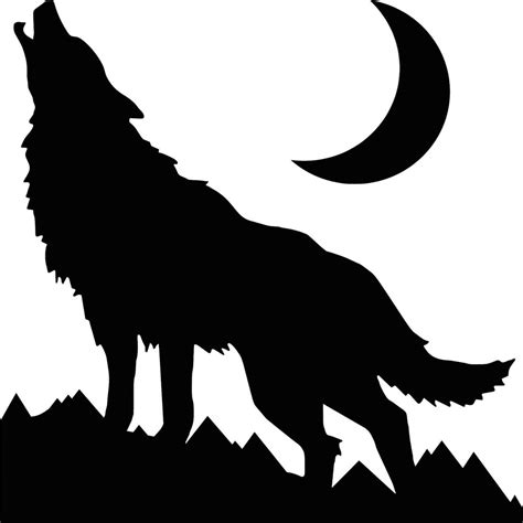 In The Night Garden Wall Stickers wolf howling at the moon sticker permanent outdoor vinyl