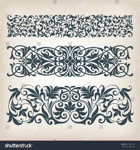 vector set vintage ornate border frame stock vector
