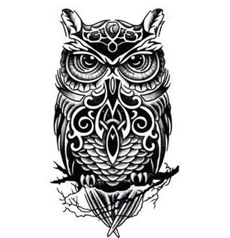 black and white owl tattoo black and white owl totem printed sticker