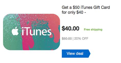 Itunes Gift Card 50 For 40 - 50 itunes gift card for 40 20 discount