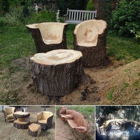 diy tree trunk furniture pictures   images