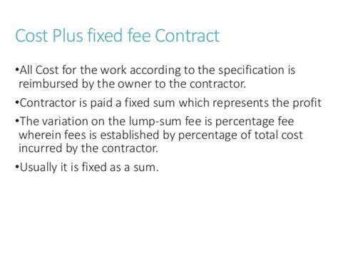 Plu Mba Cost by Types Of Contract In Construction Management