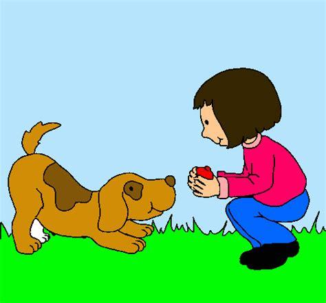 imagenes de niños jugando con un perro dibujo de ni 241 a y perro jugando pintado por akel4 en