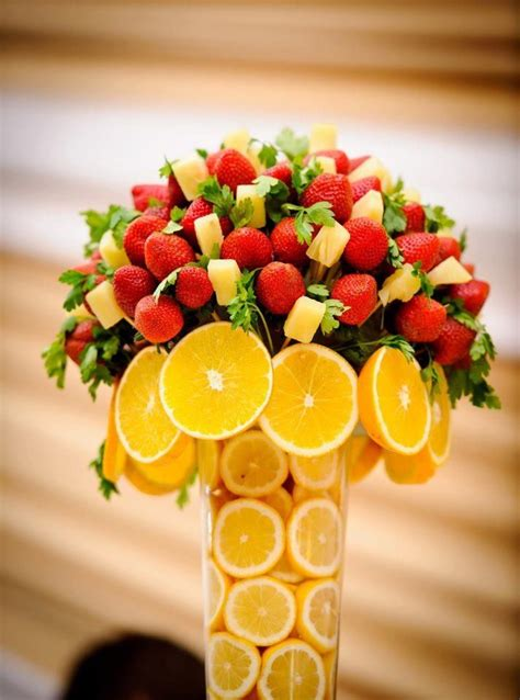 edible arrangements centerpieces fresh fruit bouquet s on the tables healthy centerpiece orange pineapple strawberry pops on a