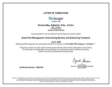 cme certificate template letter of completion acute management overcoming