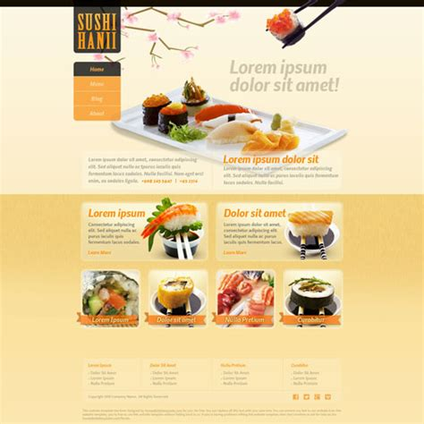 Sushi Hanii Website Template Free Website Templates Sushi Menu Template Free