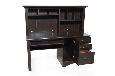 Harbor View Computer Desk With Hutch Sauder Harbor View Antiqued Black Computer Desk With Hutch Mathis Brothers Furniture