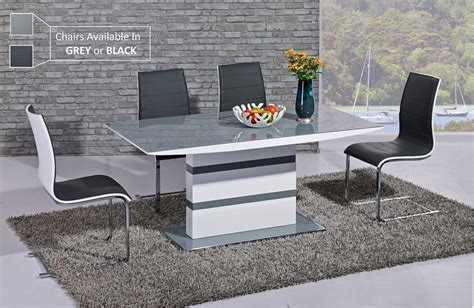 Modern Extendable Dining Table White High Gloss Grey Glass Dining Table And 6 Chairs