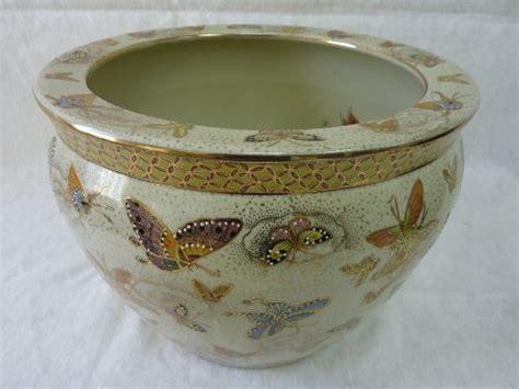 porcelain fish bowl planter  chinese butterflies
