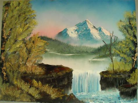 bob ross painting a waterfall by michael lindenas i get by with a help from