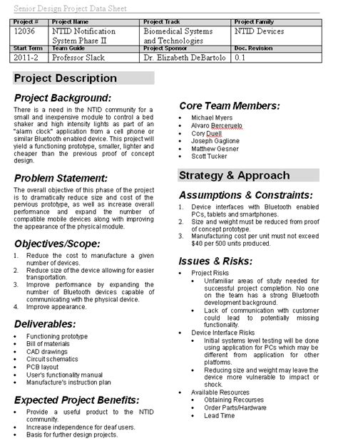 Photo Project Summary Template Images One Page Project Overview Template