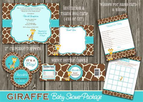 Giraffe Print Baby Shower Ideas by Printable Giraffe Baby Shower Package Diy