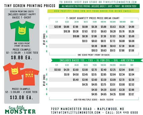 Price Quote Tiny Little Monster T Shirt Price List Template