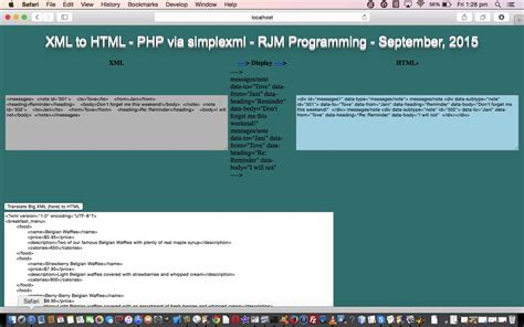 tutorial php y html xml to html php simplexml translation tutorial robert