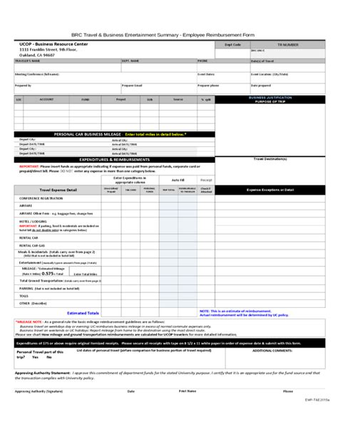 employee reimbursement form free download