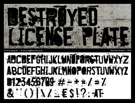 dafont license destroyed license plate font dafont com