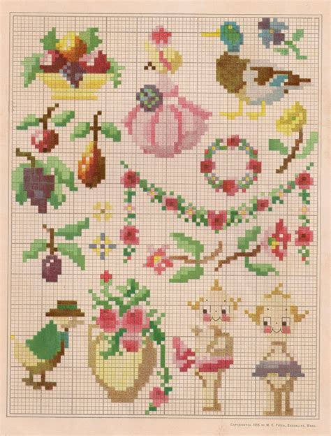 cross stitch sentimental baby free vintage colored cross stitch pattern