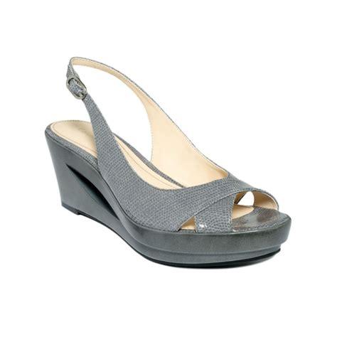 grey sandal wedges calvin klein rosaria wedge sandals in gray grey lyst