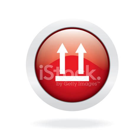 arrow up red glossy icon on white background stock vector
