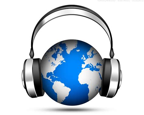internet music psd world music icon globe with headphones psdgraphics