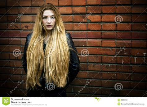grunge portrait of woman with long hair stock photography