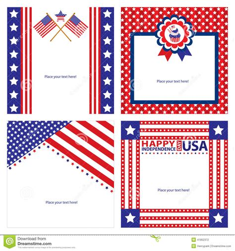 American Greetings Card Templates by American Independence Day Template Card Sets Stock Vector