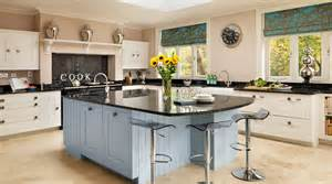 white amp blue painted shaker kitchen from harvey jones