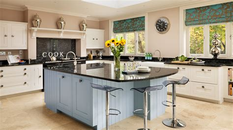 Kitchen Island With Microwave by White Amp Blue Painted Shaker Kitchen From Harvey Jones