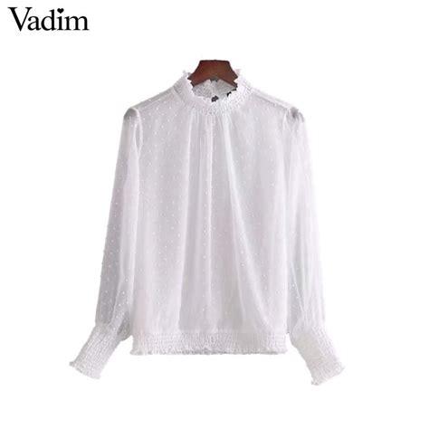 aliexpress vadim aliexpress com buy vadim women basic dot white chiffon