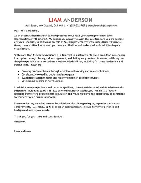 Sales Rep Cover Letter by Sales Representative Cover Letter Exles Accounting Finance Cover Letter Exles Livecareer
