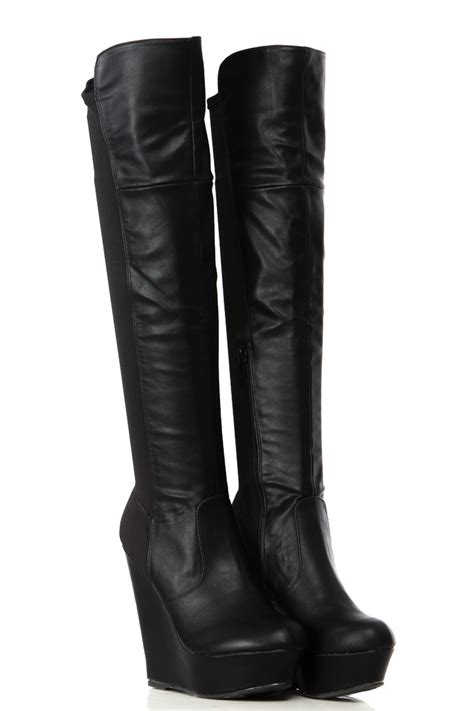 The Knee Wedge Boots wedge the knee boots leather yu boots