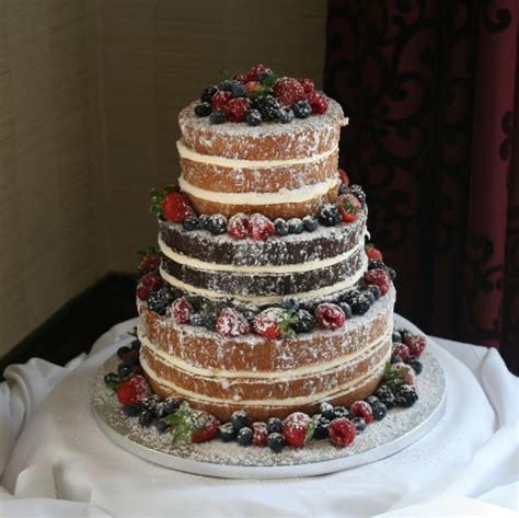 Decorator Icing 3 Tier Wedding Cake With Fresh Fruit