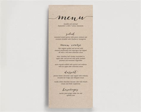 wedding dinner menu template wedding dinner menu printable instant